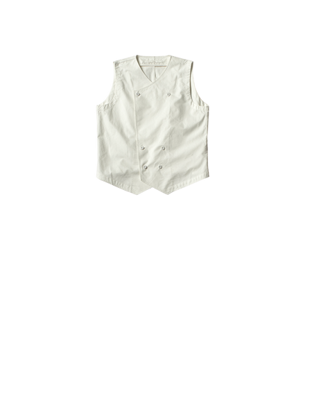 white canvas double breasted straight cut laurie waistcoat