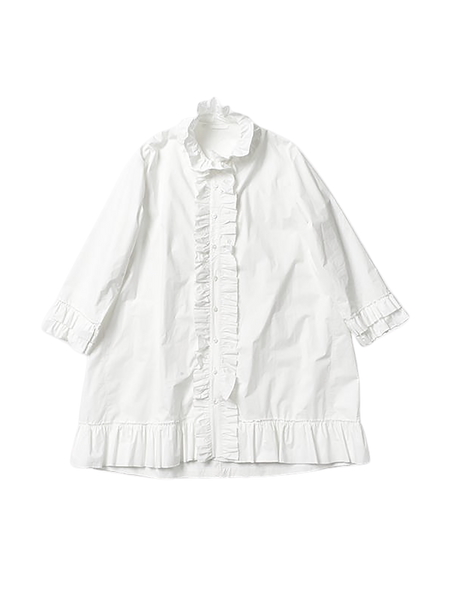 white cotton oversized frilly shirt with ruffled cuffs and hem