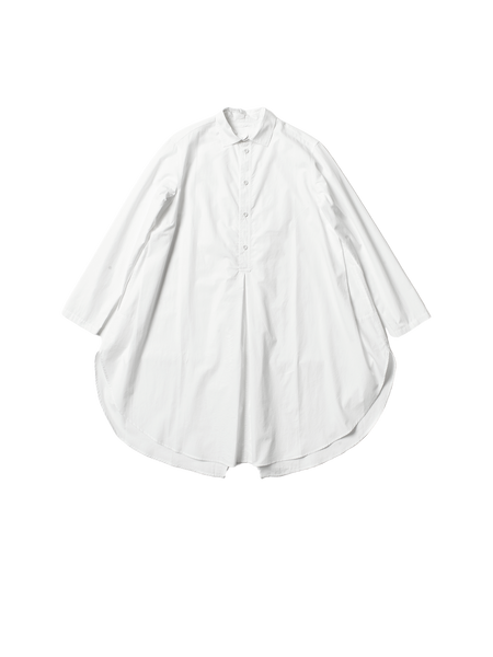 white cotton long slim ivy shirt with flared base