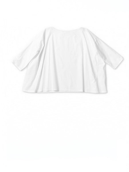 white cotton poplin basic a line pip top