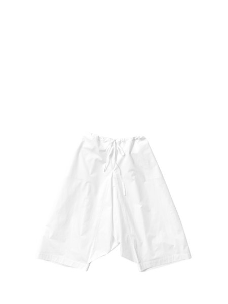 white cotton poplin drawstring full tom trousers