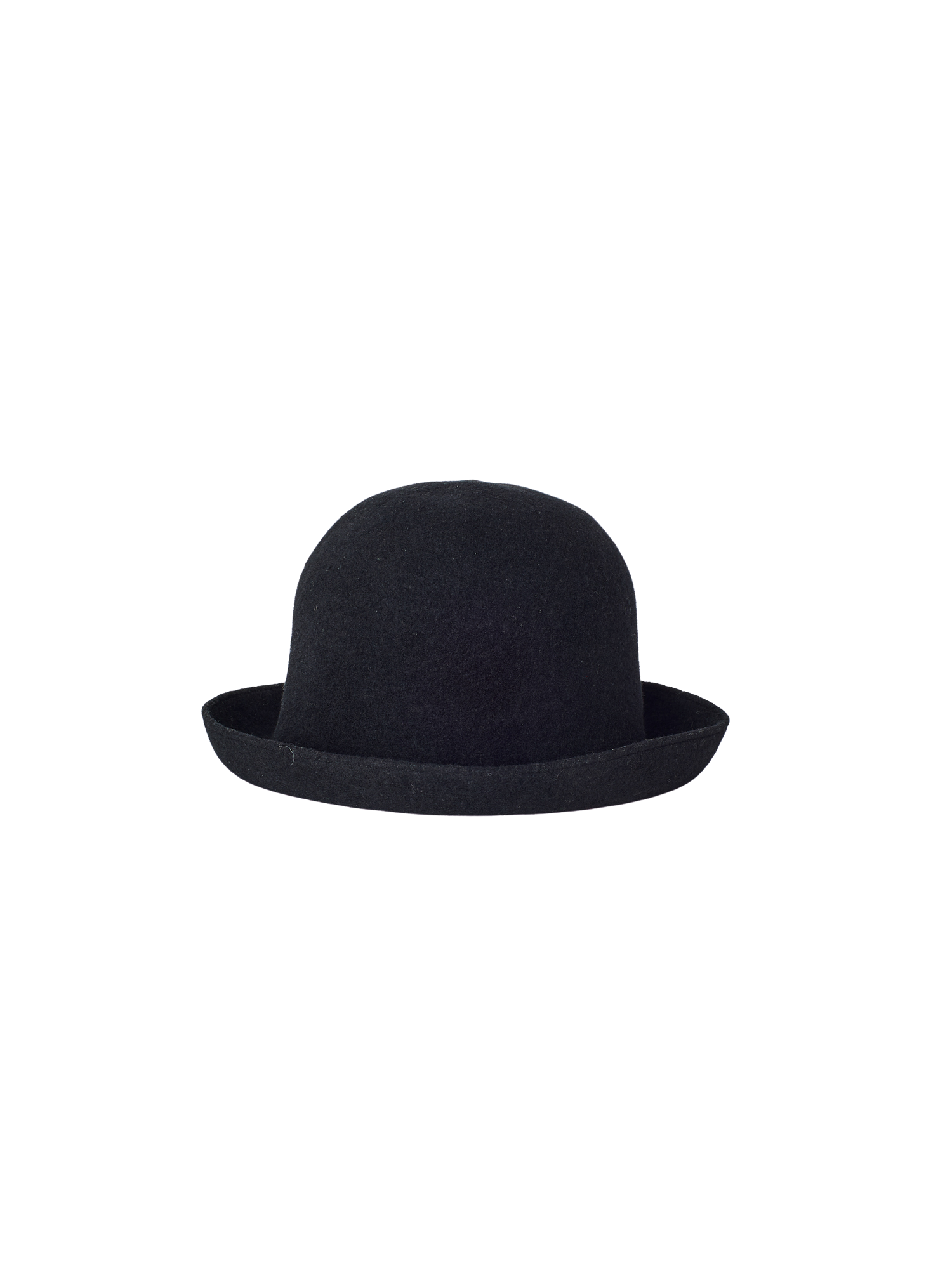 black lambs wool seamless wide rim bell hat