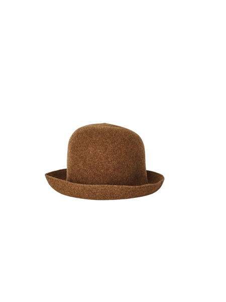 brown lambs wool seamless wide rim bell hat