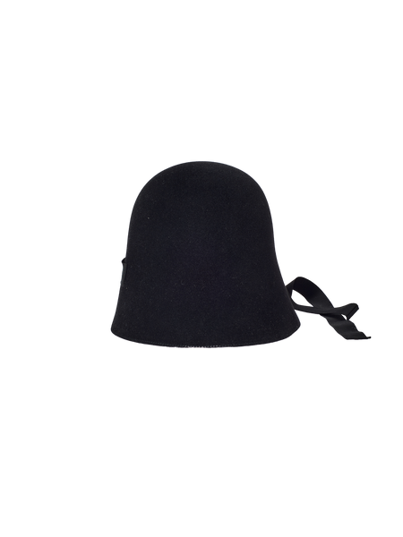 black rabbit fur felt hat with ribbon tie under the chin