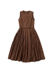 brown satin gathered apron dress