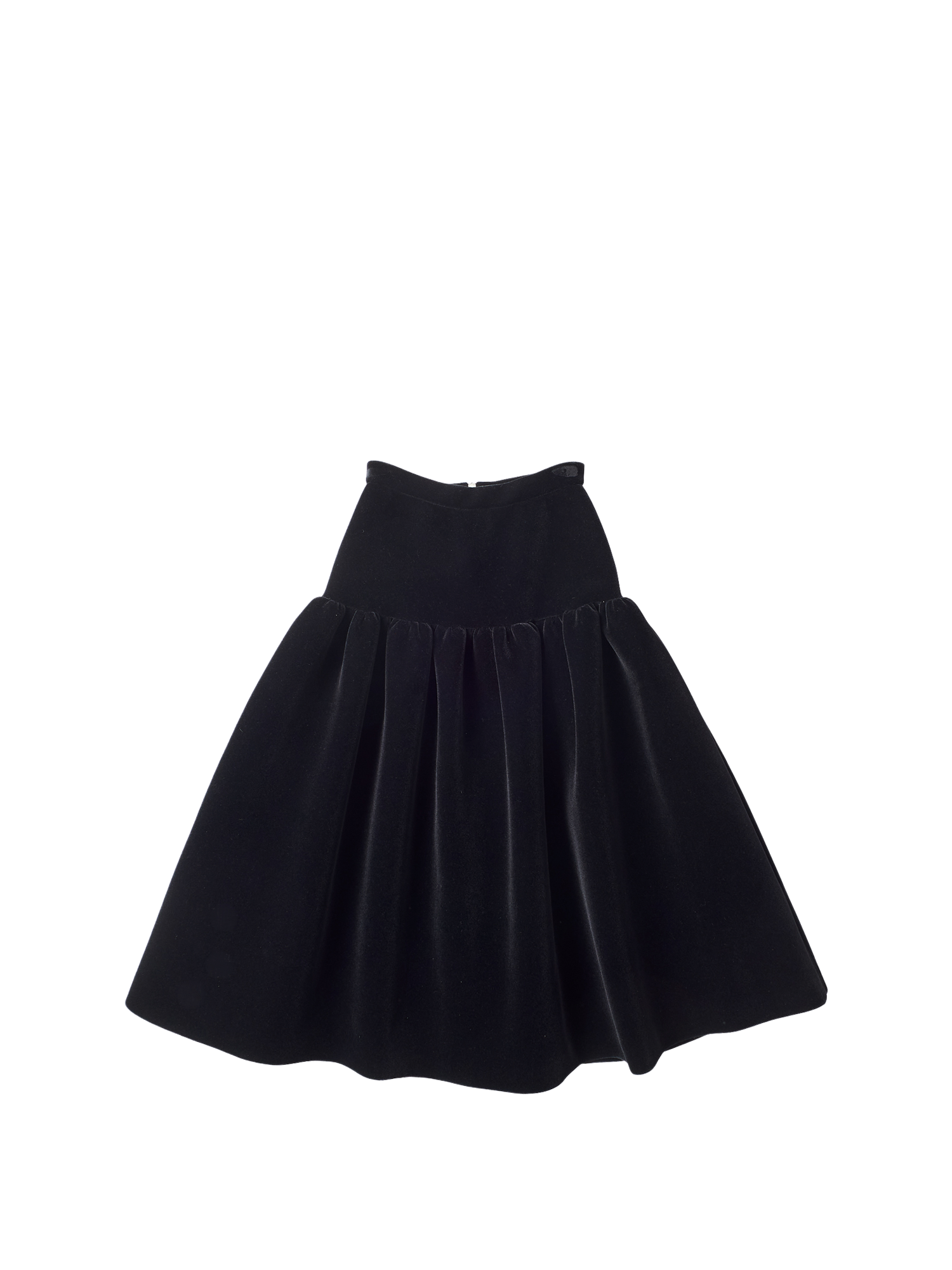 black velvet skirt with gathers