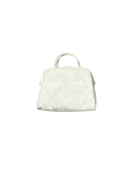 white crushed velvet boxy bag