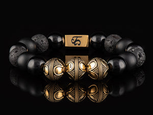 Black Armor - Exclusive 24K Gold Men's Stone Bracelet