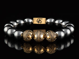 Hematite - Exclusive 24K Gold Men's Stone Bracelet