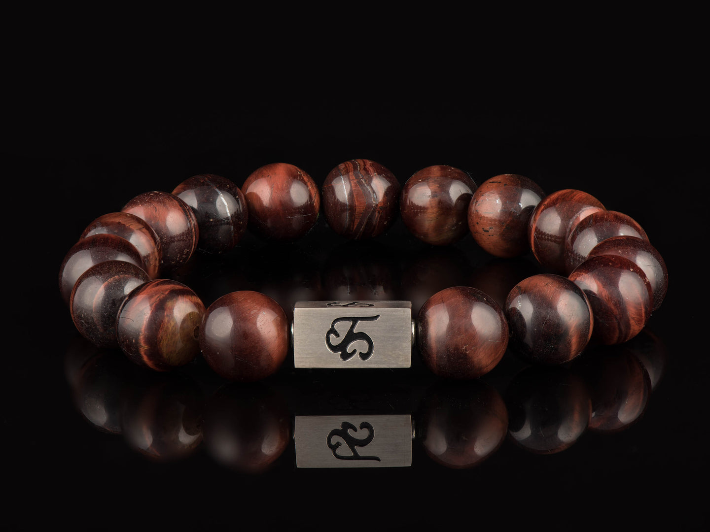 Red Tigers Eye - Platinum Silver Men's Stone Bracelet