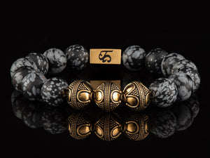 Snowflake Obsidian - Exclusive 24K Gold Men's Stone Bracelet