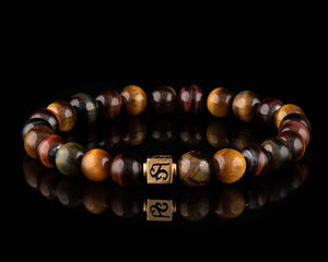 Mixed Tiger Eye - Slim 24K Gold Men's Stone Bracelet