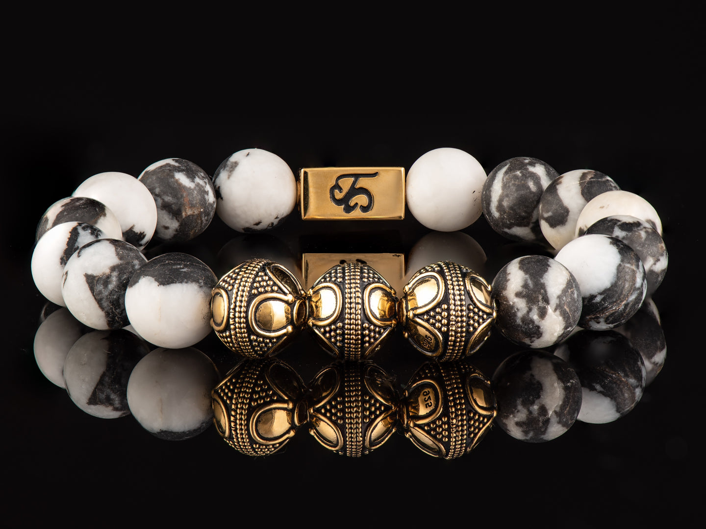 Zebra Jasper - Exclusive 24K  Gold Men's Stone Bracelet