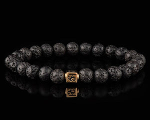 Lava - Slim 24K Gold Men's Stone Bracelet
