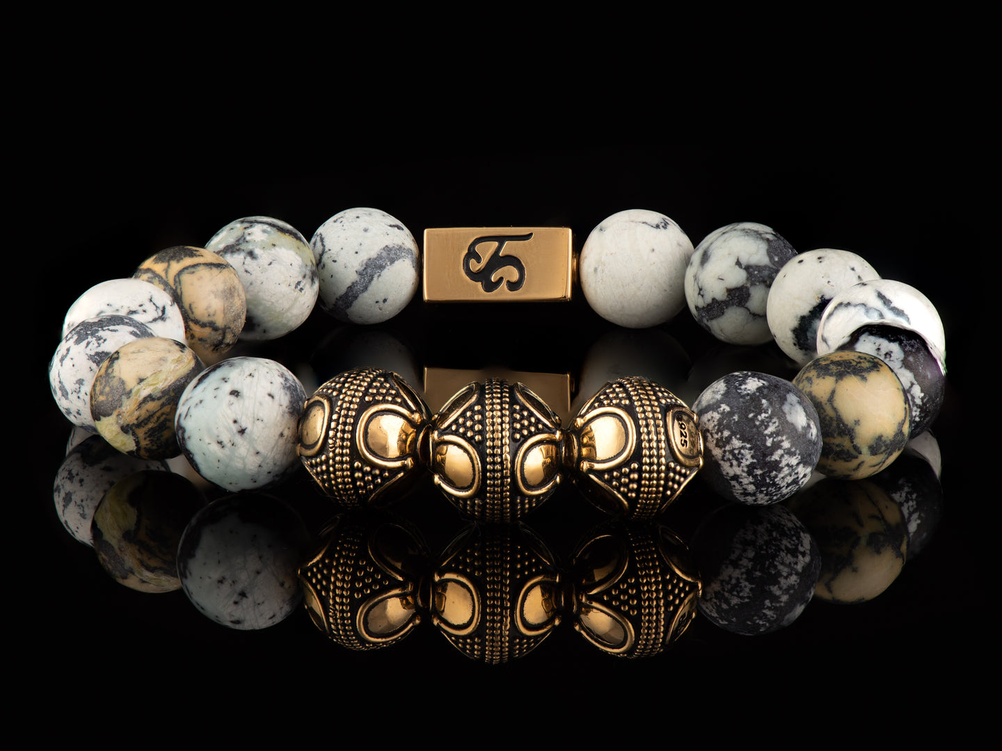 Aborigine - Exclusive 24K Gold Men's Stone Bracelet