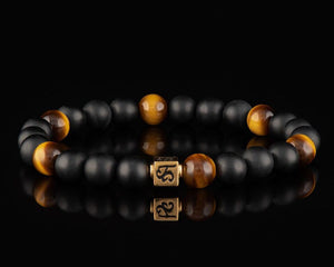 The Warrior - Slim 24K Gold Men's Stone Bracelet