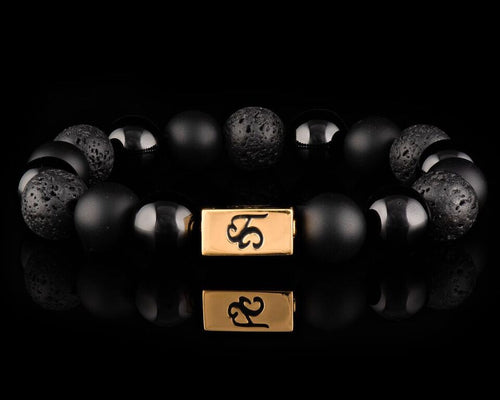 Black Armor - Platinum 24K Gold Men's Stone Bracelet