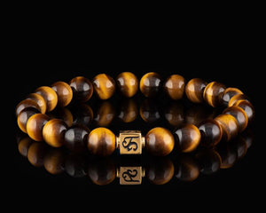 Tiger Eye - Slim 24K Gold Men's Stone Bracelet