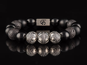 Black Armor - Exclusive Silver Men's Stone Bracelet