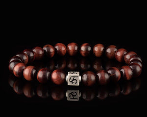 Red Tiger Eye - Slim Silver Men's Stone Bracelet