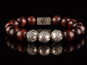Red Tigers Eye - Exclusive Silver Men's Stone Bracelet