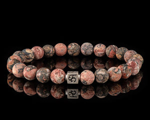 Red Leopardskin - Slim Silver Men's Stone Bracelet