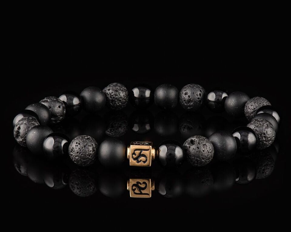 Black Armor - Slim 24K Gold Men's Stone Bracelet