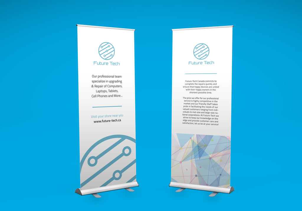 retractable roll up banner 33 x 80 with print carrying case