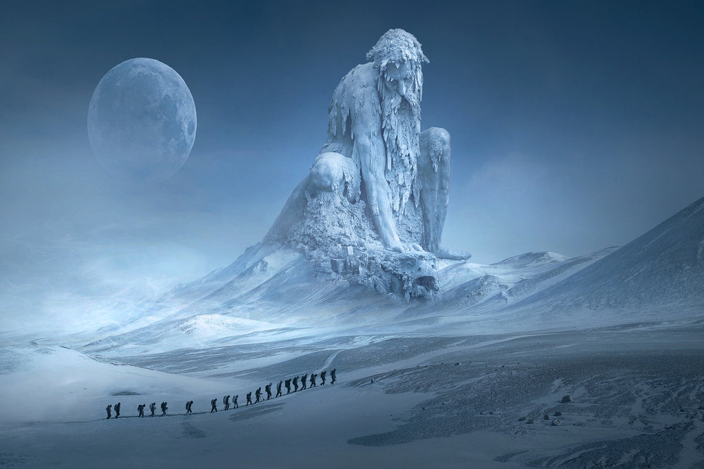 Fantasy landscape mountains human