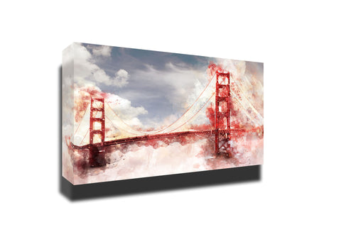 Golden bridge watercolor bridge