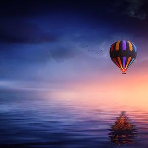 Hot air balloon lake balloon sunset