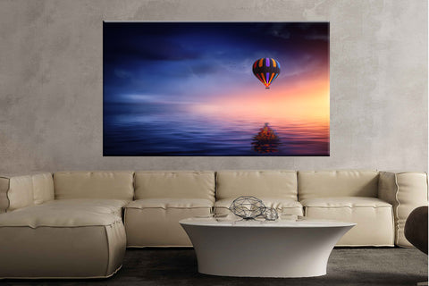 Hotair balloon lake balloon sunset