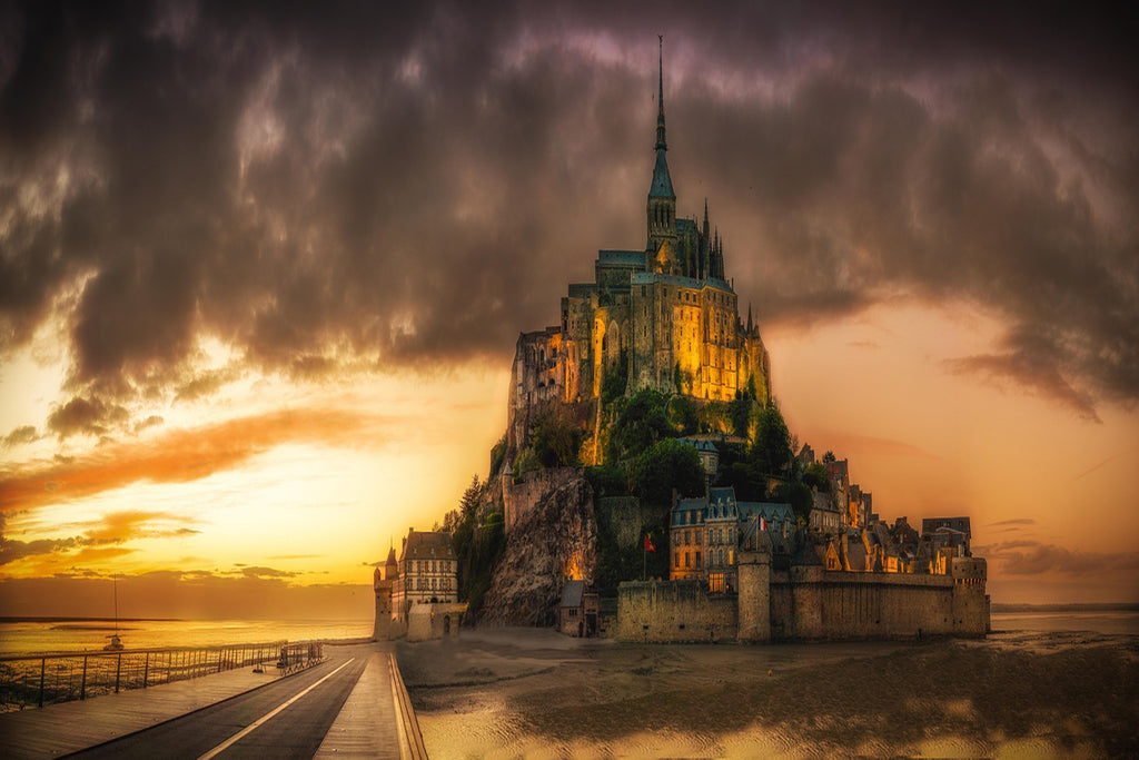 Mont st michel sunset island church