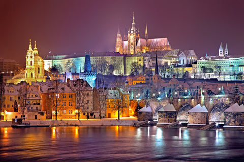 Prague winter night snow