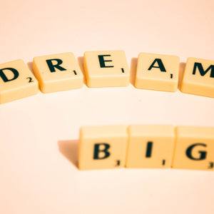 Scrabble dream big note message