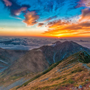 Sunset mountain autumn tateyama