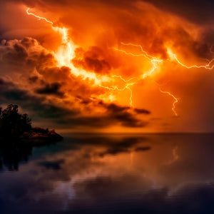 Sunset dusk lightning storm