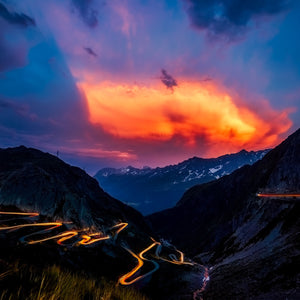 Switzerland landscape sunset dusk
