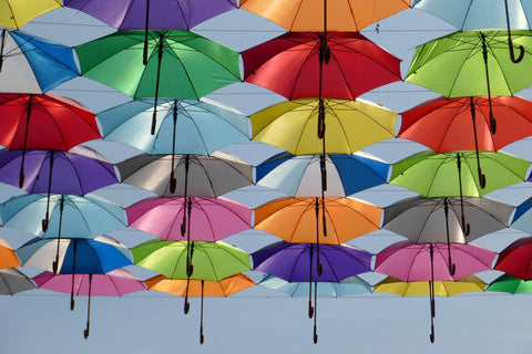 Umbrella color red green yellow