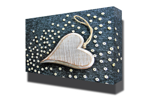 Wooden heart valentines day