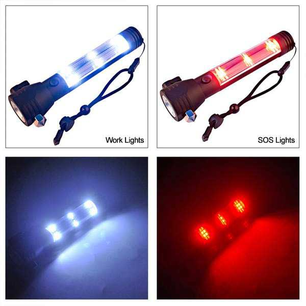 Outdoor Solar Powered LED Flashlight Hammer Torch Light With Power Bank Magnet D