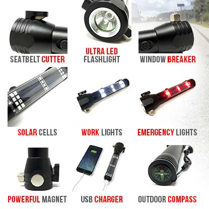 9 in1 Multifunction Solar Power LED Flashlight Emergency Torch Survival Tool NEW