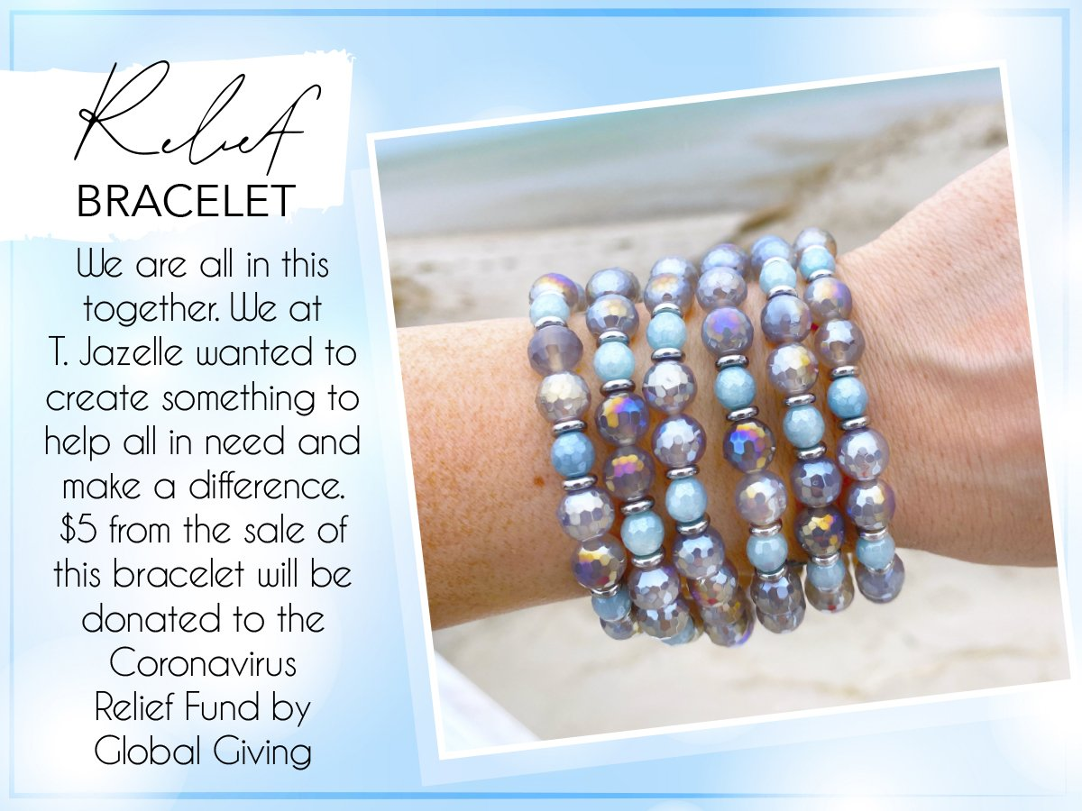 T. Jazelle wanted to create something to help all in need and make a difference. $5 from the sale of this bracelet will be directly donated to the Coronavirus Relief Fund.