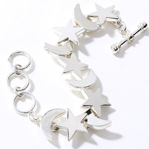 Charles Albert Sterling Silver Moon and Star Bracelet