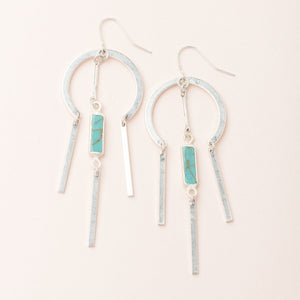 Dream Catcher Stone Earring - Turquoise/Silver