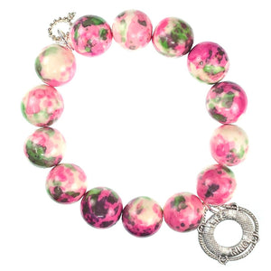 Pink and green watercolor agate paired with a life ring medal