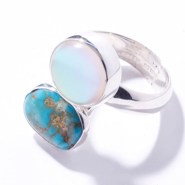 STERLING SILVER LUMINITE & CAMPO FRIO TURQUOISE ADJUSTABLE RING