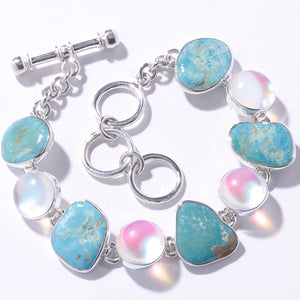 STERLING SILVER LUMINITE & CAMPO FRIO TURQUOISE BRACELET