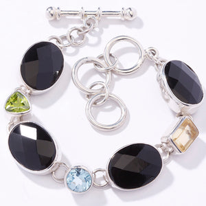STERLING SILVER ONYX AND MULTI GEMSTONE BRACELET