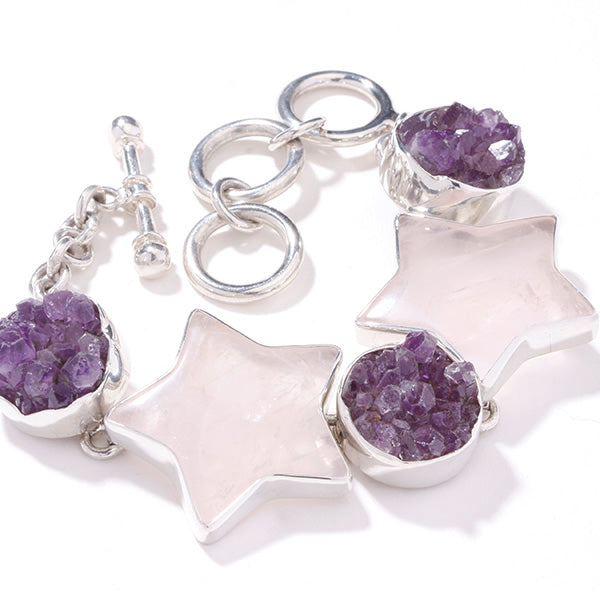 Charles Albert Sterling Silver Rose Quartz Star and Amethyst